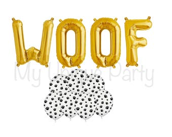 "WOOF Letter Balloons Set of 4 Gold Letters Air Fill only Foil Mylar  / 6 Paw Print 11"" Latex Balloons Helium Quality"