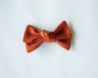 Rust Knotted Linen Bow Headband Nylon Skinny Headband or Hair Clip