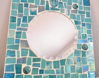 Beveled Mosaic Mirror - AQUA - TURQUOISE - Stained Glass - Glitter Tiles