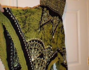 Vintage Embroidered Sundress Dress Olive Green XS Small  Crochet Butterfly Hem Scarf Hem Sleeveless Tube Top Boho Bohemian Hippie
