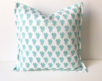 Turquoise and white boho blockprint floral linen decorative pillow cover