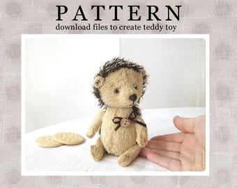 PATTERN Download to create Teddy like Hedgehog Pechenka 7 inches