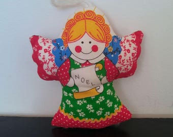 Vintage 70s Noel Angel Plush Christmas Ornament
