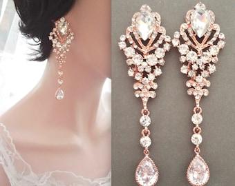 Rose gold Chandelier earrings, Rose gold crystal earrings, Rose gold Statement earrings, Rose gold wedding earrings, Brides earrings, CAMI
