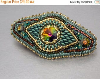 Summer sale -15% Bead Embroidery,  Barrette,  Seed bead jewelry,Swarovski jewelry, Teal , Green , Gold,Hair clip