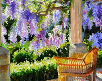 Original oil painting of WISTERIA, purple flowers, cane chair, veranda, outside scene