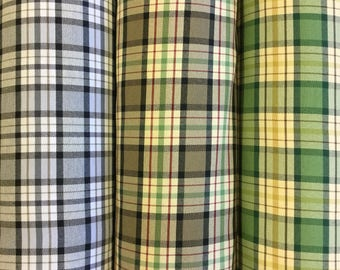 Roswell Check curtain fabric in three colourways by the metre