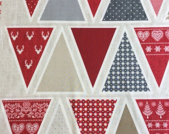 Makeower 1596 Scandi 3 Bunting 100% Cotton Fabric by the 60 cm panel