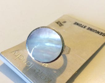 Vintage Kate Landry Sterling Silver Mother of Pearl Ring--Size 6
