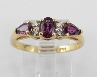 Diamond and Rhodolite Garnet Three Stone Ring 14K Yellow Gold Size 6.75