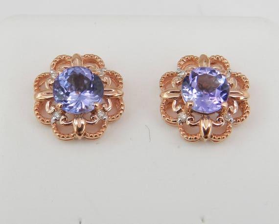 Tanzanite and Diamond Stud Earrings Halo Flower Studs Rose Pink Gold Wedding Gift