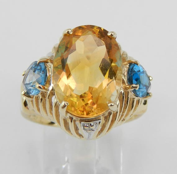 Citrine Blue Topaz Diamond Three Stone Vintage Ring 14K Yellow Gold Size 8