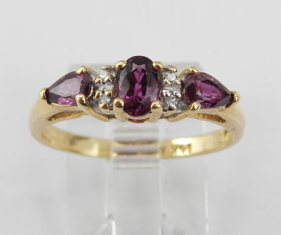 Diamond and Rhodolite Garnet Three Stone Ring 14K Yellow Gold Size 6.75