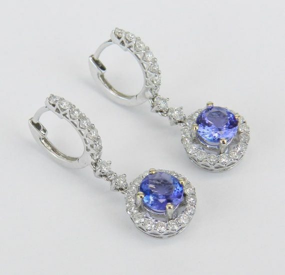 18K White Gold Tanzanite and Diamond Halo Drop Earrings Purple Gemstone 2.45 ct