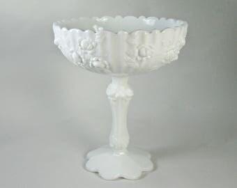 Fenton Milk Glass Rose Compote