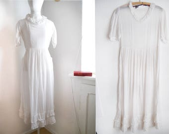 Antique organza Dress white gauze cotton Edwardian small ghostly late victorian sheer tea dress girls white goth
