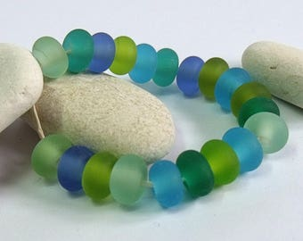 Tropical Waters, Lampwork Spacer Beads, SRA, UK
