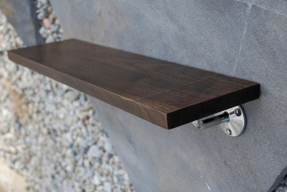 Dark Walnut Shelf with Polished Stainless Steel Brackets
