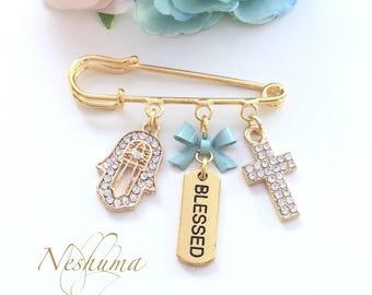 Christening Gift for Boys, Christening Baptism Blessing or Communion, Baby Keepsake gift, Evil Eye Stroller Pin, Baby Shower Gift