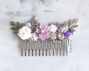 Lilac Wedding Hair Comb Silver Bridal Hair Pin Mauve Ultra Violet Purple Gray Flower Headpiece Romantic Hair Slide Boho Elegant Hair Slide