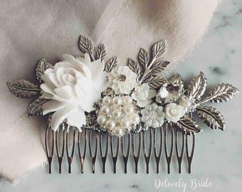 White Wedding Hair Comb, Silver Bridal Hair Accessories, Personalised Hair Pin, Leaves, Rhinestone, Crystal, Pearl, Big Hair Slide, Elegant