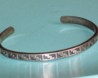 Vintage KABANA signed KBN Sterling Silver 925 Southwest Cuff Bracelet