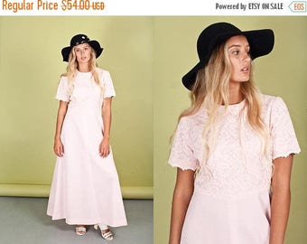 FLASH SALE 60s Pink Lace Dress Vintage Pink Long Maxi Dress
