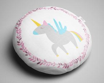 Round Unicorn Cushion