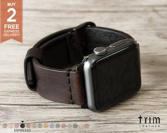Apple Watch Band Leather Watch Band Minimal in Dark Brown Espresso Color 42mm 38mm Series 1 2 3 [Handmade] [Custom Colors]