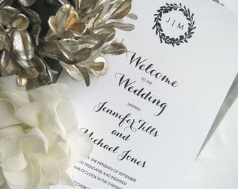 Wedding Programs  |  Instant Download PDF - Printable Wedding Programs |  Wedding Program |  Folded  |  Modern Wreath Collection