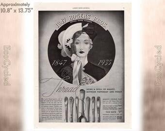 Ladies Home Journal 1935 Silverware ad, old 1930s ad Magazine Advertisements Antique Vintage Paper Ephemera historical art print ad 18