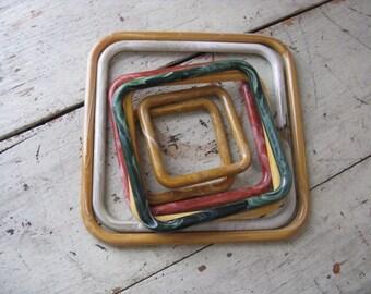 lucite macrame purse handles marbella handles set of 7 assorted colors assorted sizes earth tones