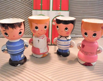 Egg cups wooden kids children , egg cups with display rack, four egg cups, hand painted, collectible egg cups, girl and boy egg cups
