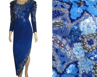 UNWORM 80s Celebrity Gown LAVISH Beads & Sequins Throughout Bust 35 Lake Blue w Silver by Demetrios One of a Kind Marvel Prom Dress