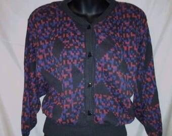"BIG SUMMER SALE 80s Vintage Pierre Cardin-Wool Cardigan Sweater-Size 6-Medium-38"" Bust-High Fashion-Paris-Shoulder Pads-Office Casual"