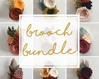 Felt Flower Brooch Bundle