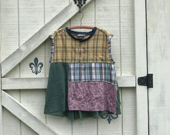 Hippie top tunic, L babydoll top, plaid, patchwork rustic top