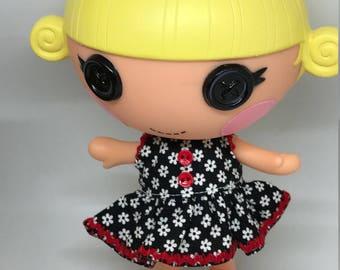 Handmade Dress for Lalaloopsy Little Doll // Little Sister // Doll Clothes // Stocking Stuffer // Under 10 // For Girls // Black Floral