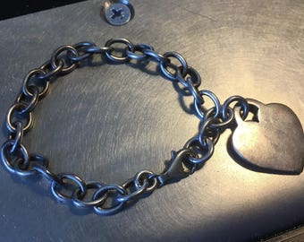 Sterling Silver Chain Link Bracelet with Heart Charm