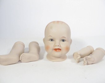 Mid Century Shackman Porcelain Bisque Baby Doll - Bisque Baby Doll Head Arms Legs