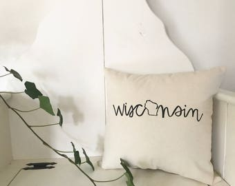 Wisconsin Pillow - Home Decor, Midwest, Dairy State, Gift for him, Gift for her, Christmas