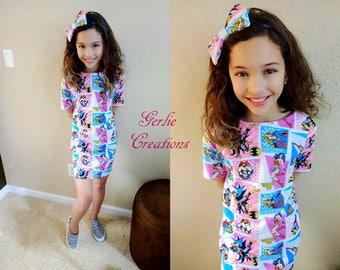 SUPERHERO Dress, Girls Dress, Wonder Woman, Supergirl, Batgirl, Knit Dress, Superhero Knit Dress - 2T - 12