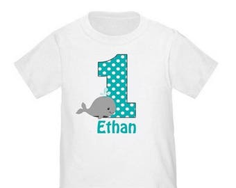 ON SALE Under the Sea Teal Whale Personalized Birthday Shirt - ANY Age