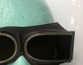 Vintage Aviation Motorcycle Goggles Leather Tinted Glass Steampunk