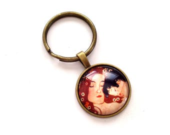 Mother and Child Keychain, Mother Keychain, Gift for Mom, Glass Charm Key Holder, Art Image Charm, Antiqued Brass or Copper Key Chain