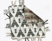 Ivory Black Teepees - Baby Boy Toy + tag lovey sensory security blanket brown fox minky - buck antler deer stag woodland boho personalized