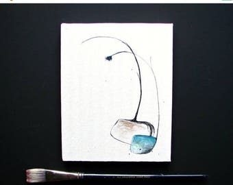 CLEARANCE Original Acrylic Watercolor Art, Contemporary Art, March Birthday Aquamarine, Home Decor, Wall Art, Affordable Art for the Home &