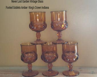 Indiana Glass King's Crown Footed Goblet Amber Vintage