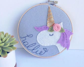 Personalized Wall Art / Unicorn Decor / Nursery Wall Art / Nursery Name Sign / Granddaughter Gift / Embroidered Sign / Unicorn Embroidery