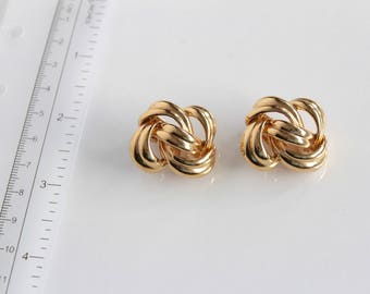 Vintage Givenchy Gold Tone Knot  earrings clip on ? Retro Givenchy earrings  #1759